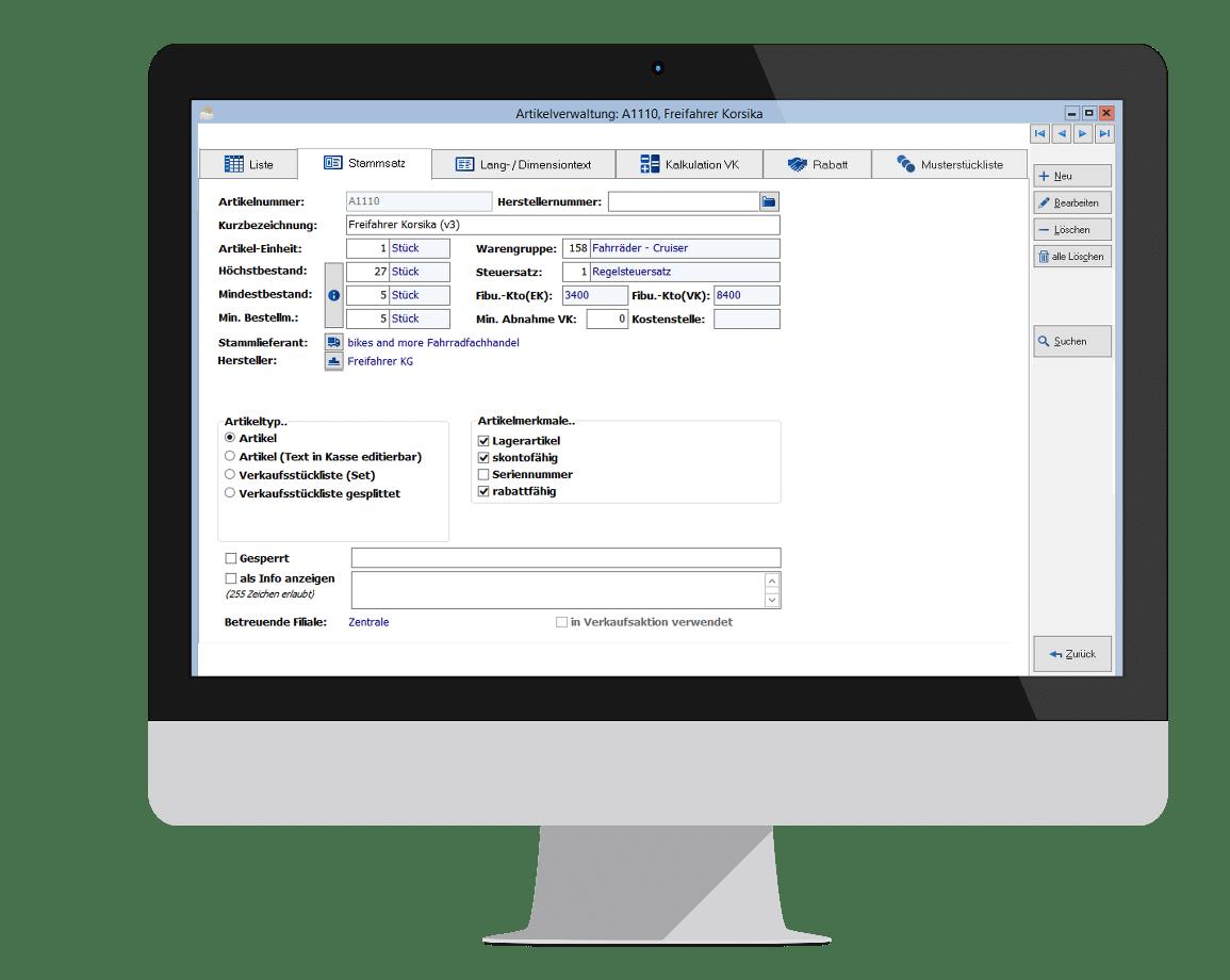 Warenwirtschaftssystem Einzelhandel - Artikelverwaltung